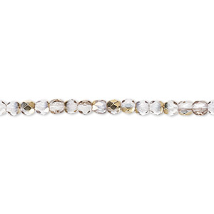 bead, czech fire-polished glass, clear and metallic gold, 3mm faceted round. sold per 16-inch strand.