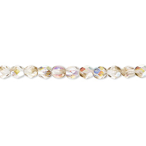 bead, czech fire-polished glass, clear and smoke ab, 4mm faceted round. sold per 16-inch strand.
