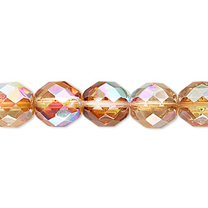 bead, czech fire-polished glass, clear celsian ab, 10mm faceted round. sold per 16-inch strand.