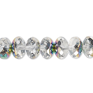 bead, czech fire-polished glass, clear vitrail, 11x7mm faceted rondelle. sold per 16-inch strand.