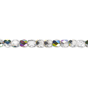 bead, czech fire-polished glass, clear vitrail, 4mm faceted round. sold per pkg of 1,200 (1 mass).