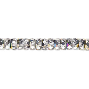 bead, czech fire-polished glass, clear vitrail, 6x3mm faceted rondelle. sold per 16-inch strand.