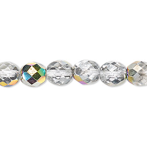 bead, czech fire-polished glass, clear vitrail, 8mm faceted round. sold per 16-inch strand.