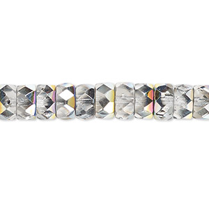 bead, czech fire-polished glass, clear vitrail, 8x4mm faceted rondelle. sold per 16-inch strand.