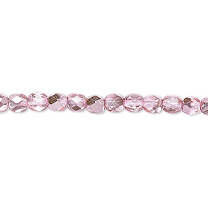 bead, czech fire-polished glass, clear with half-coat metallic bubblegum, 4mm faceted round. sold per 16-inch strand.