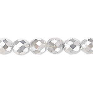 bead, czech fire-polished glass, clear with half-coat metallic silver and chrome, 8mm faceted round. sold per 16-inch strand.