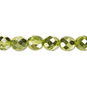 bead, czech fire-polished glass, clear with half-coat metallic silver green, 8mm faceted round. sold per 16-inch strand.