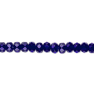 bead, czech fire-polished glass, cobalt, 5x4mm faceted rondelle. sold per 16-inch strand.