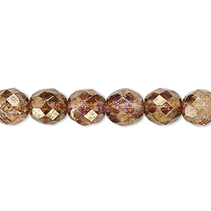 bead, czech fire-polished glass, copper luster, 8mm faceted round. sold per 16-inch strand.