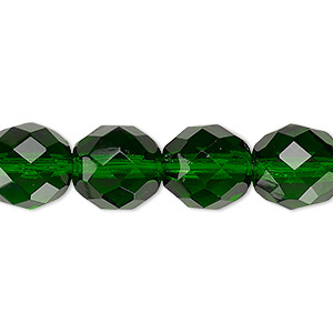bead, czech fire-polished glass, emerald green, 12mm faceted round. sold per 16-inch strand, approximately 35 beads.