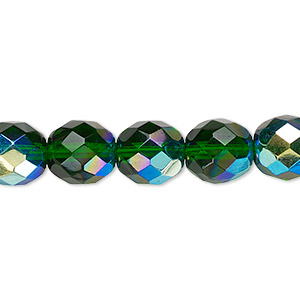 bead, czech fire-polished glass, emerald green ab, 10mm faceted round. sold per 16-inch strand.