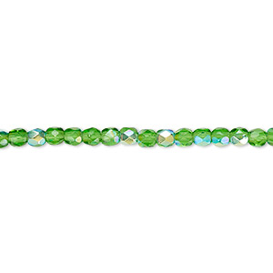 bead, czech fire-polished glass, emerald green ab, 3mm faceted round. sold per 16-inch strand.