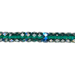 bead, czech fire-polished glass, emerald green ab, 6x3mm faceted rondelle. sold per 16-inch strand.