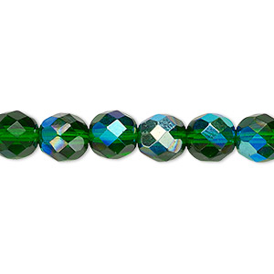 bead, czech fire-polished glass, emerald green ab, 8mm faceted round. sold per pkg of 600 (1/2 mass).
