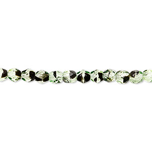 bead, czech fire-polished glass, green and brown, 4mm faceted round. sold per 16-inch strand.