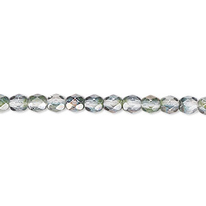 bead, czech fire-polished glass, green and grey luster, 4mm faceted round. sold per 16-inch strand.
