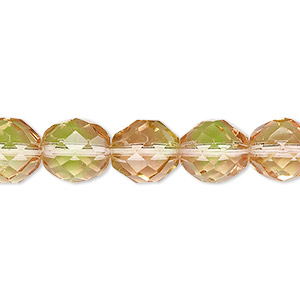 bead, czech fire-polished glass, green and pink, 10mm faceted round. sold per 16-inch strand, approximately 40 beads.