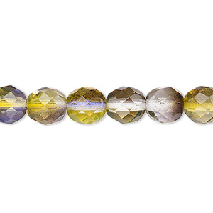 bead, czech fire-polished glass, green and purple, 8mm faceted round. sold per 16-inch strand, approximately 50 beads.