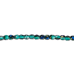 bead, czech fire-polished glass, green blue iris, 3mm faceted round. sold per 16-inch strand.