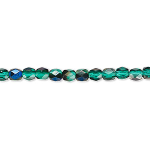 bead, czech fire-polished glass, green blue iris, 4mm faceted round. sold per pkg of 1,200 (1 mass).
