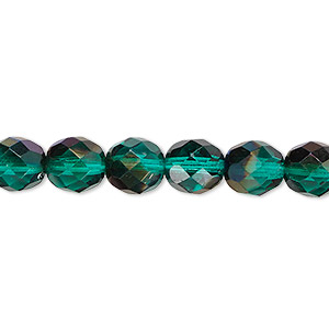 bead, czech fire-polished glass, green blue iris, 8mm faceted round. sold per 16-inch strand.