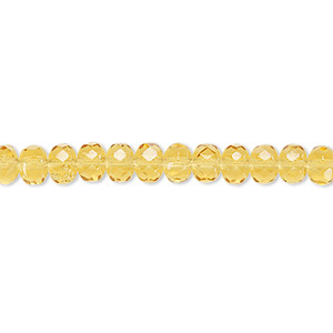 bead, czech fire-polished glass, honey, 5x4mm faceted rondelle. sold per 16-inch strand.