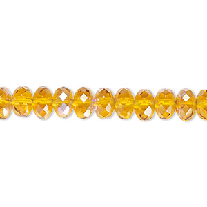 bead, czech fire-polished glass, honey ab, 7x5mm faceted rondelle. sold per 16-inch strand.