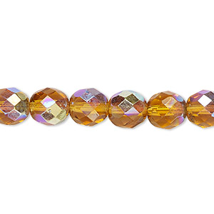 bead, czech fire-polished glass, honey ab, 8mm faceted round. sold per 16-inch strand.