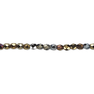 bead, czech fire-polished glass, iris brown, 3mm faceted round. sold per pkg of 1,200 (1 mass).