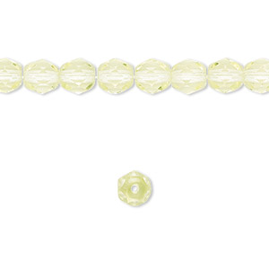 bead, czech fire-polished glass, lemon, 6mm faceted round. sold per 16-inch strand.