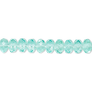 bead, czech fire-polished glass, light aqua, 7x5mm faceted rondelle. sold per 16-inch strand.