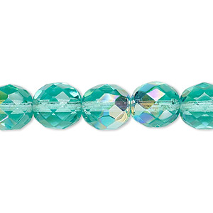 bead, czech fire-polished glass, light aqua ab, 10mm faceted round. sold per 16-inch strand.