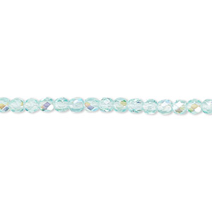 bead, czech fire-polished glass, light aqua ab, 3mm faceted round. sold per 16-inch strand.