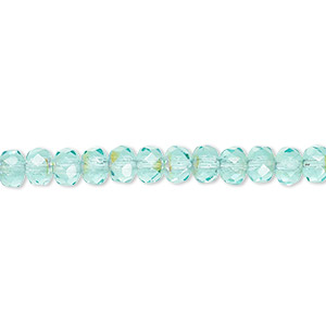 bead, czech fire-polished glass, light aqua ab, 5x4mm faceted rondelle. sold per 16-inch strand.
