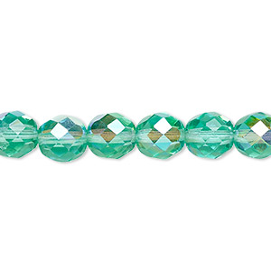 bead, czech fire-polished glass, light aqua ab, 8mm faceted round. sold per pkg of 600 (1/2 mass).
