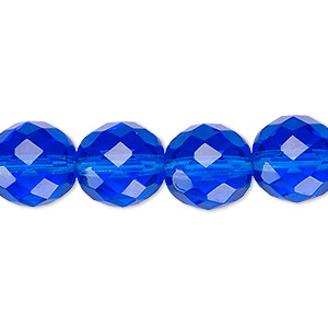 bead, czech fire-polished glass, light cobalt, 12mm faceted round. sold per 16-inch strand, approximately 35 beads.
