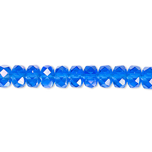 bead, czech fire-polished glass, light cobalt ab, 7x5mm faceted rondelle. sold per 16-inch strand.