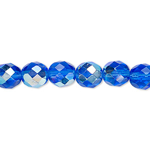bead, czech fire-polished glass, light cobalt ab, 8mm faceted round. sold per pkg of 600 (1/2 mass).