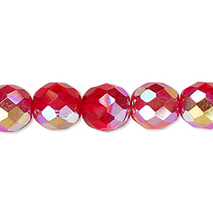 bead, czech fire-polished glass, light red ab, 10mm faceted round. sold per pkg of 600 (1/2 mass).