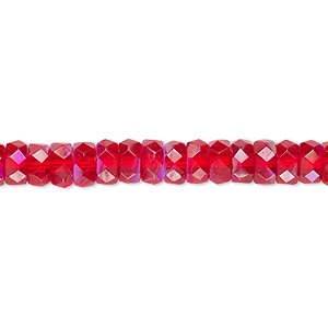 bead, czech fire-polished glass, light red ab, 6x3mm faceted rondelle. sold per 16-inch strand.