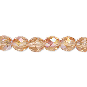 bead, czech fire-polished glass, light rose ab, 8mm faceted round. sold per 16-inch strand.