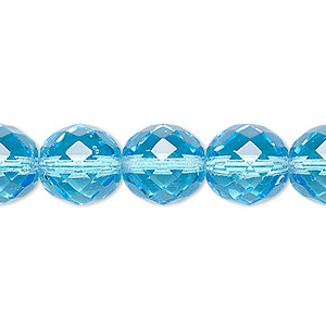 bead, czech fire-polished glass, light turquoise blue, 12mm faceted round. sold per pkg of 600 (1/2 mass).