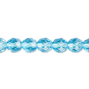bead, czech fire-polished glass, light turquoise blue, 8mm faceted round. sold per 16-inch strand, approximately 50 beads.