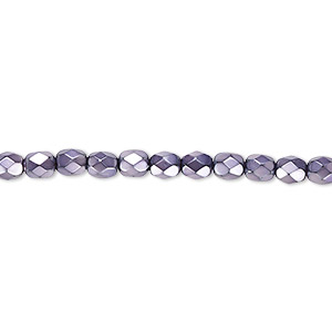 bead, czech fire-polished glass, lilac carmen, 4mm faceted round. sold per 16-inch strand.
