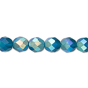 bead, czech fire-polished glass, matte blue ab, 8mm faceted round. sold per 16-inch strand.