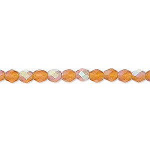 bead, czech fire-polished glass, matte brown ab, 4mm faceted round. sold per 16-inch strand.