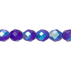 bead, czech fire-polished glass, matte dark blue ab, 8mm faceted round. sold per 16-inch strand.