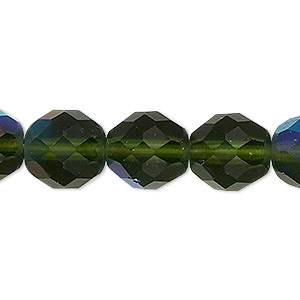 bead, czech fire-polished glass, matte light green ab, 12mm faceted round. sold per 16-inch strand.