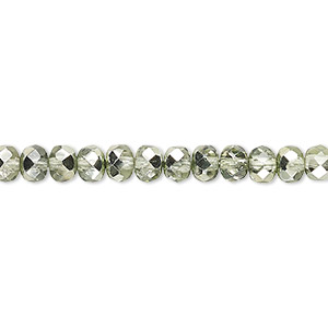 bead, czech fire-polished glass, metallic mint, 5x4mm faceted rondelle. sold per 16-inch strand.