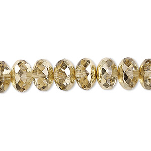 bead, czech fire-polished glass, metallic pale gold, 11x7mm faceted rondelle. sold per 16-inch strand.